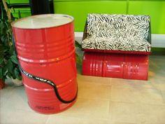 55 gallon drums as furniture. Creative.