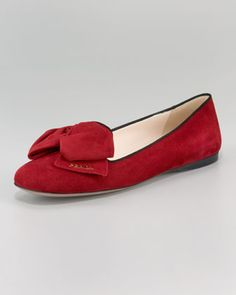 Suede Bi-Color Bow Slipper by Prada at Neiman Marcus.
