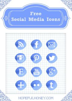 12 Free Blue Watercolour Social Media Icons via Hopeful Honey