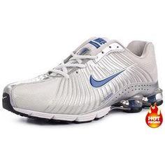 http://www.asneakers4u.com Mens Nike Shox R4 White Silver Blue Black