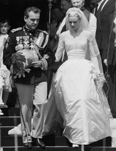 For her wedding to Prince Rainier of Monaco in 1956, the bride wore a pearl-studded gown by Helen Rose. With its intricate silk, rose-point lace, tulle and seed pearls, the dress seems almost too delicate to actually wear—even by princess standards!Click through to shop her look.