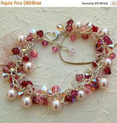 93f87021e1534 Pink Pearl and Ruby Crystal Bracelet, Swarovski, Sterling Silver, Light  Rose Cluster, Spring Summer Wedding Handmade Jewelry Gift