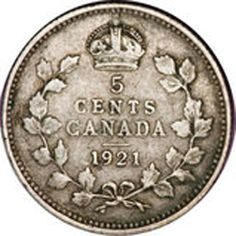 1921 Canadian five cent – Criticized for their thinness, most of the 1921 Canadian five cent coins were melted down after it was being replaced by nickel cents. A few pieces managed to survive in present time. Canadian Penny, Canadian Coins, Rene Magritte, George Vi, Gold Coins For Sale, Maple Leaf, Marker, Coin Store, Valuable Coins