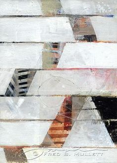 """5""""x7"""" panel with collaged elements and additional marks"""