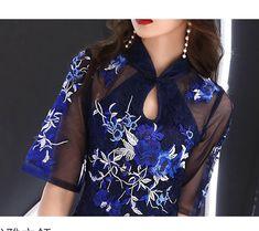 改良型チャイナドレス チャイナ風ワンピース パーティードレス チャイナ風服 二次会 女子会 同窓会 スタンドネック 五分袖 ショート丈 刺繍入り 大きいサイズ S M L LL 3L ブルー ピンク シャンパン シルバーグレー | elegant