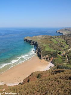 Andrín beach seen from the Boriza viewpoint in Llanes, Asturias, Spain. A truly special place to be in the summer! Asturias Spain, Water Sports, Surfing, Paradise, Beach, Summer, Outdoor, Seaside, Outdoors