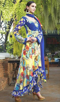 Blue and Yellow Georgette Churidar Suit Price: Usa Dollar $101, British UK Pound £60, Euro75, Canada CA$110 , Indian Rs5454.