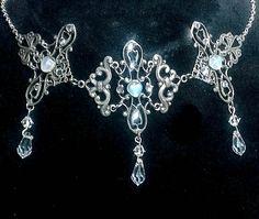 Silver filigree choker necklace, Victorian choker, iridescent glass, crystal necklace, glass heart, Valentine's Day. $45.00, via Etsy.