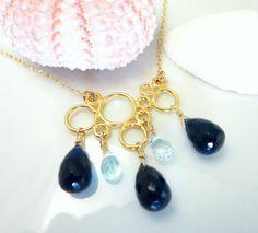 Sapphire blue quartz gold cloud raindrop necklace by KBlossoms