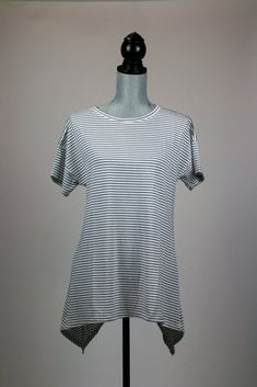 Open Back Betty Striped Tunic Tee Salt And Light, Grey Stripes, Navy And White, Tees, Shirts, Autumn Fashion, Ruffle Blouse, Tunic, Clothing