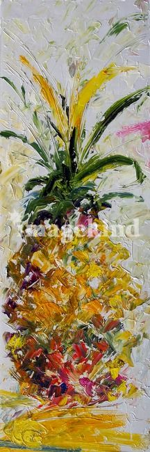Original Pineapple oil painting as print.  It's a tall format which is great for narrow walls.