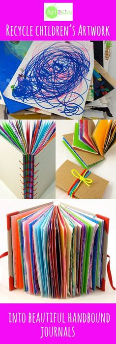 If you're drowning in too much artwork, why not recycle some of it into beautiful hand-bound journals. artful-kids.com