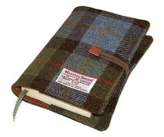 Book Cover MacLeod Harris Tweed by WhimsyWooDesigns on Etsy, £22.50 - $46.15 NZD.  Well made. Look at eleasticated cord holding it closed