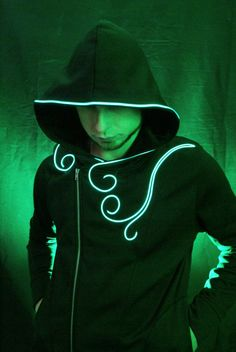 Light up hoodie with EL wire By NEO LUX (led hoodie, light up clothing, edm jacket , edm hoodie, Burning Man hoodie )