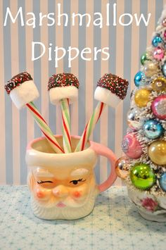 Holiday Sparkle marshmallow hot chocolate dippers stirrers