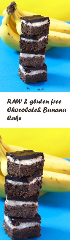Raw vegan Brownies with banana cream: For these raw and gluten free chocolate brownies I have united recipes for chocolate mousse and chocolate cake - and I got rewarded with a chocolaty dream ...