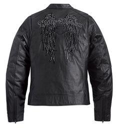 Harley-Davidson® Womens Indulgence Winged Studded Rhinestone Black Leather Jacket
