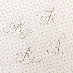 A for challenge 🙈 Pencil Calligraphy, Calligraphy Fonts Alphabet, Flourish Calligraphy, Calligraphy Worksheet, Copperplate Calligraphy, Hand Lettering Alphabet, Learn Calligraphy, Calligraphy Handwriting, Penmanship