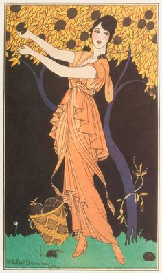 george barbier, 1914. The time of which this was illustrated often reflects on the dress so it's interesting to see the style of dress compared to now More