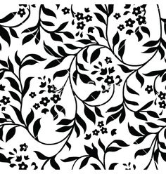Vector Of White And Black Floral Vines Background Pattern Version 4