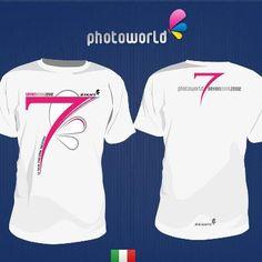La maglietta creata in occasione del settimo compleanno del gruppo Photoworld - versione fucsia  www.photoworld.it