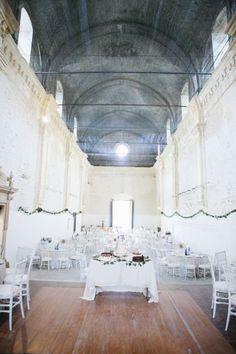 View inside the Gothic Style church  built in 1470. At La Cartuja de Cazalla Photo. bodafilms.es