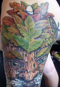 Session 13, 12/06/14, Greenman tattoo, top leaves completed with great blending of colour tones, by Craig Smith, Lowestoft, UK