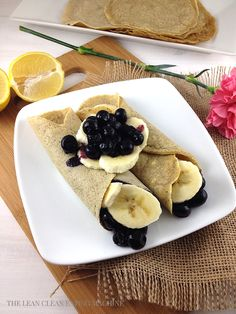 Blueberry Banana Gluten Free Crepes. Aside from being gluten free, these blueberry banana gluten free crepes contain no sugar (other than stevia), no dairy and healthy coconut oil instead of butter.