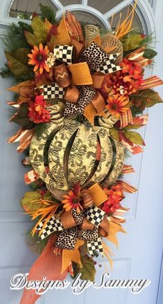 A personal favorite from my Etsy shop https://www.etsy.com/listing/387594194/fall-pumpkin-swag-wreatg-bronze-pumpkin