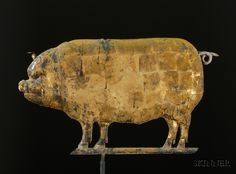 Molded and Gilded Copper Pig Weather Vane, America, late 19th century, flattened full-bodied molded sheet-copper figure