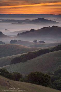 Predawn mist on the hills Marin County (California) by Michael Ryan