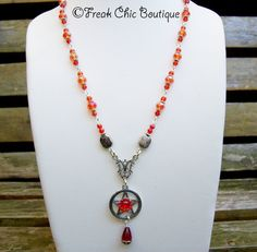 Pentagram Necklace, Crystal beaded necklace, Pagan Necklace, Wicca, Pentacle Necklace by freakchicboutique on Etsy