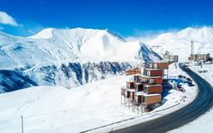 Shipping Container Ski Hotel in the Caucasus mountains Shipping Container Homes, Shipping Containers, Container Conversions, Container Design, Amazing Spaces, Amazing Architecture, Beautiful Places, Landscape, Building