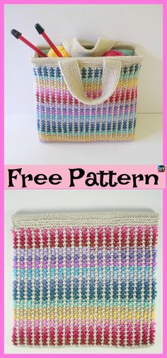 Knit Scrap Bag Free Knitting Pattern: Knit bags from scrap yarns, knitters bag, bag for crocheter, basket looking bag Knitting Designs, Knitting Patterns Free, Free Knitting, Knitting Projects, Knitting Tutorials, Bag Crochet, Knit Bag, Bag Pattern Free, Tote Pattern