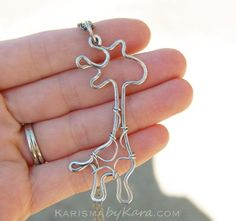 Giraffe Necklace. Giraffe Jewelry. Aluminum. Wire Jewelry