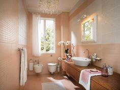 Bathroom, Extraordinary Peach Feminine Bathroom Decor In Small Room With Long Wooden Table And Wall Hook Also Elegant Mirror Plus Beautiful . Feminine Bathroom, Peach Bathroom, Natural Bathroom, Bad Inspiration, Bathroom Inspiration, Bathroom Ideas, Bathroom Wall, Minimalist Bathroom Design, Design Bathroom