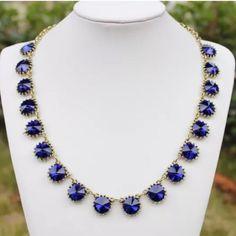 "Sapphire color statement necklace NWOT Rhinestone statement necklace  ""Price firm"" Jewelry Necklaces"
