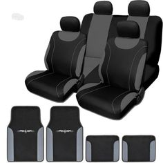 FH GROUP FB032114 Unique Flat Cloth Full Set Car Seat Covers Green Black With F11306 Vinyl Floor Mats Fit Most Truck Suv Or Van