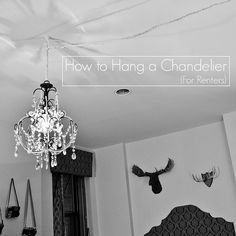 RENTING? Fabulous tut on how to re-purpose a chandelier or hanging light into a non intrustive non ceiling destructive hanging light, that you can take when you move! Snazzy!