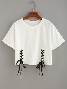 Online shopping for Double Lace-Up Hem Crop T-shirt from a great selection of women's fashion clothing & more at MakeMeChic.COM.