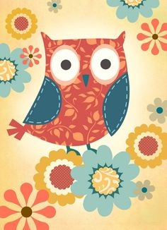 owl....orange and teal