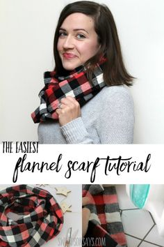 The easiest flannel infinity scarf pattern Perfect beginner sewing project to make as gifts or sell at craft fairs! Make this diy flannel infinity scarf in 15 minutes and keep warm. Super fun winter scarf sewing tutorial with full picture instructions. Sewing Hacks, Sewing Tutorials, Sewing Tips, Sewing Ideas, Sewing Crafts, Leftover Fabric, Love Sewing, Sewing Projects For Beginners, Diy Projects
