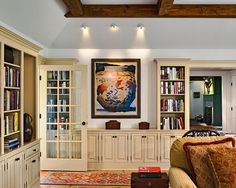 built in console and bookshelves. cue the crown molding