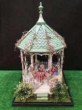 Dollhouse Miniatures Handmade Gazebo Display of Childrens Summer Party