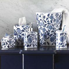 Blue & White Bath Porcelain Accessories