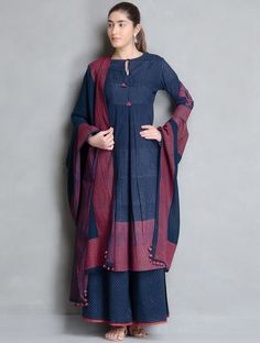 Buy Indigo Red Block Printed Pleated & Tie Up Detailed Cotton Kurta Apparel… Kurta Designs Women, Kurti Neck Designs, Blouse Designs, Dress Designs, Pakistani Dresses, Indian Dresses, Indian Outfits, Ethnic Dress, Indian Ethnic Wear