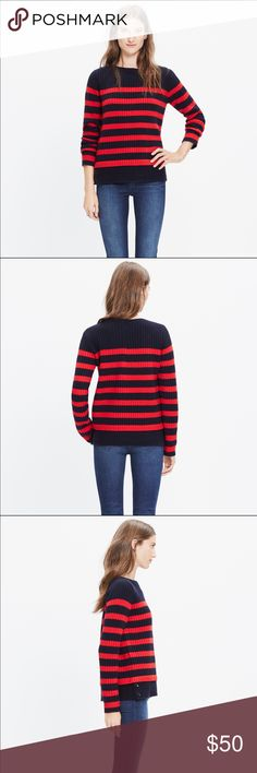 Madewell Women's Blue Striped Anchorlight Sweater EUC. Worn once. A timeless ribbed sweater, knit from supersoft merino wool and updated with a boiled wool hem for a no-fuss layered look. Stripes add a welcomed nautical touch in the frosty months (even when the lakes are frozen over).    True to size. Extrafine merino wool. Dry clean. Import. Madewell Sweaters Crew & Scoop Necks