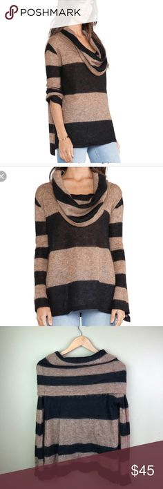 """FREE PEOPLE Lulu Rugby Stripe Alpaca Sweater Med A lightweight Free People sweater has a soft touch and a relaxed cowl neckline. Dropped shoulders. Sheer.  Fabric: Brushed, loose knit. 55% alpaca/45% nylon. Dry clean. Imported, China. approx measurements with garment laid flat armpit to armpit 19"""" length 21"""" Free People Sweaters Cowl & Turtlenecks"""