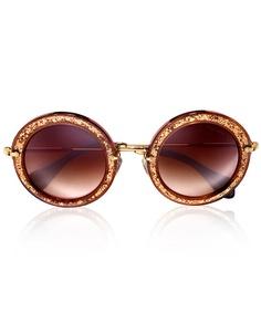 Miu Miu Tobacco Noir Glitter Round Sunglasses