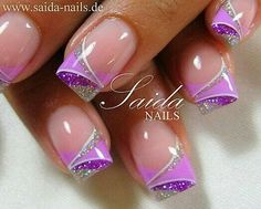 Schneler Ngel - Forum for nail design, nail art and artificial fingernails - View topic - the last works - Gel Fingernägel - Purple Gel Nails, Purple Nail Art, Purple Nail Designs, Pretty Nail Art, Cool Nail Designs, Silver Nails, Purple Glitter, Pink Purple, Beautiful Nail Art